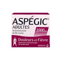 Aspegic 1000mg adulte 20 sachets