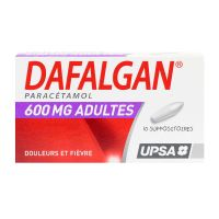 Dafalgan 600mg 10 suppositoires adultes
